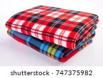 blanket  soft warm blanket on... | Shutterstock . vector #747375982