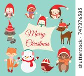 set of cute cartoon character... | Shutterstock .eps vector #747376585