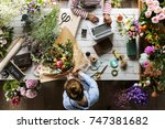 florist making fresh flowers... | Shutterstock . vector #747381682