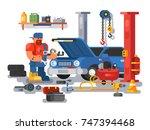 mechanic worker repairs car in... | Shutterstock .eps vector #747394468