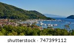 panorama city scape of gocek... | Shutterstock . vector #747399112