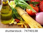 composition with raw pasta... | Shutterstock . vector #74740138