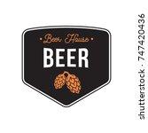 beer logo vintage with hops... | Shutterstock .eps vector #747420436