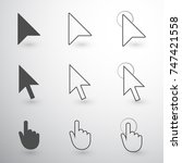 dark grey mouse cursor icon set ... | Shutterstock .eps vector #747421558