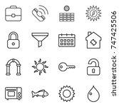 thin line icon set   portfolio  ... | Shutterstock .eps vector #747425506