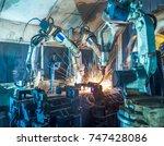 welding robots movement in a... | Shutterstock . vector #747428086
