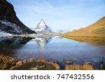panorama view of matterhorn as... | Shutterstock . vector #747432556