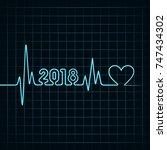 illustration of 2018 greeting...   Shutterstock .eps vector #747434302