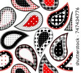 paisley pattern in patchwork...   Shutterstock .eps vector #747434776
