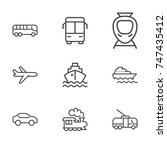 transport line icon set | Shutterstock .eps vector #747435412