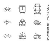 transport line icon set | Shutterstock .eps vector #747437272
