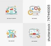 set of line design modern... | Shutterstock .eps vector #747440305