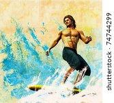 surfer retro style poster ... | Shutterstock . vector #74744299