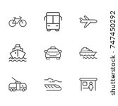 transport line icon set | Shutterstock .eps vector #747450292