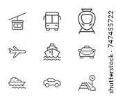 transport line icon set | Shutterstock .eps vector #747455722