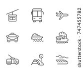 transport line icon set | Shutterstock .eps vector #747455782