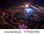 Small photo of SAINT PETERSBURG, RUSSIA - OCTOBER 28 2017: EPICENTER Counter Strike: Global Offensive cyber sport event. Main venue stage and the screen with live picture from the game