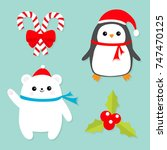 merry christmas icon set. candy ... | Shutterstock .eps vector #747470125