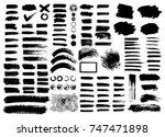 painted grunge stripes set.... | Shutterstock .eps vector #747471898