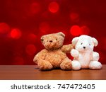 teddy bear brown with white is... | Shutterstock . vector #747472405