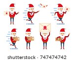 set of strong santa claus... | Shutterstock .eps vector #747474742