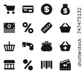 16 vector icon set   cart  card ... | Shutterstock .eps vector #747475132