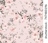 Stock photo watercolor seamless pattern of delicate flowers e 747483196