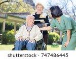 two active elderly people... | Shutterstock . vector #747486445