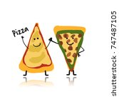 pizza slices character  sketch... | Shutterstock .eps vector #747487105