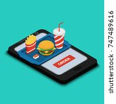 illustration. tray with burger  ... | Shutterstock . vector #747489616