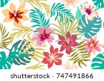 bright tropical flowers and... | Shutterstock .eps vector #747491866