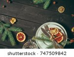 christmas table place setting | Shutterstock . vector #747509842