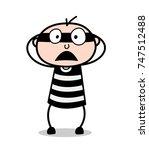 fearful face   cartoon burglar...   Shutterstock .eps vector #747512488