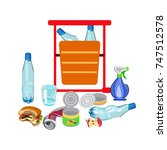 garbage can. glass fight  scrap ... | Shutterstock .eps vector #747512578