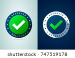 approved medal. round stamp for ... | Shutterstock . vector #747519178