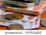 russian money close up of... | Shutterstock . vector #747521602