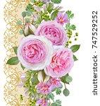 floral seamless pattern. flower ... | Shutterstock . vector #747529252