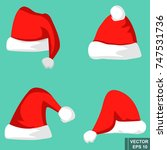 set. red cap of santa. new year.... | Shutterstock .eps vector #747531736