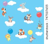 Stock vector baby animals in the sky with balloons and clouds collection 747537655