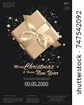 merry christmas   happy new... | Shutterstock .eps vector #747542092