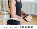 pilates workout on machines | Shutterstock . vector #747543232