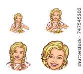 set of vector pop art round...   Shutterstock .eps vector #747545302