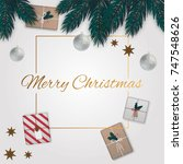merry christmas background with ... | Shutterstock .eps vector #747548626