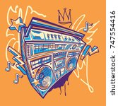 funky colorful boom box on... | Shutterstock .eps vector #747554416