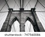 brooklyn bridge is a hybrid... | Shutterstock . vector #747560086