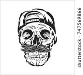 head skull with snap back... | Shutterstock .eps vector #747569866