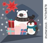 christmas card with penguin and ... | Shutterstock .eps vector #747569878