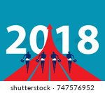 business people running to 2018.... | Shutterstock .eps vector #747576952