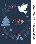 christmas greeting card. winter ... | Shutterstock .eps vector #747576955