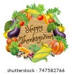 happy thanksgiving wooden sign...   Shutterstock .eps vector #747582766